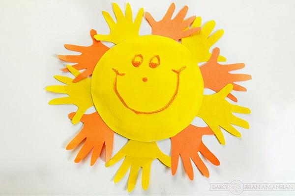 Handprint Sun Paper Plate Craft