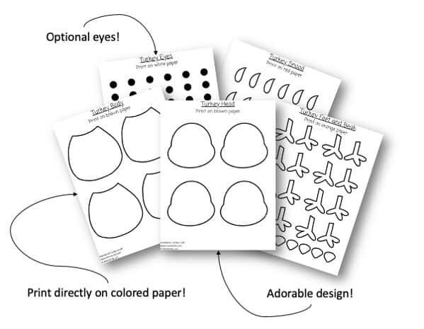 Handprint Turkey Template Multiple Version e1603356498158