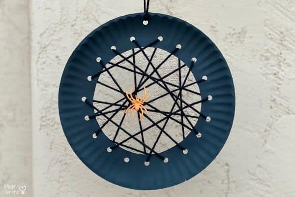 Hanging Paper Plate Spider Web (9)
