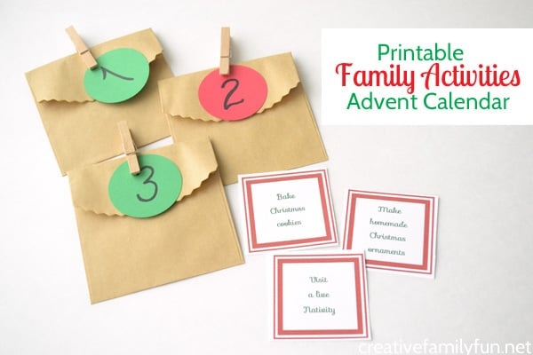 Printable Family Activities Advent Calendar