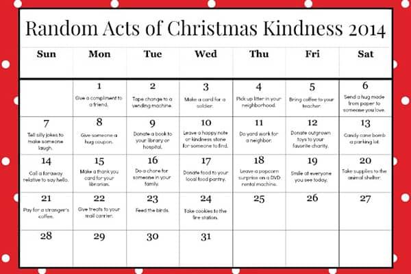 Random Acts of Kindness Printable Advent Calendar