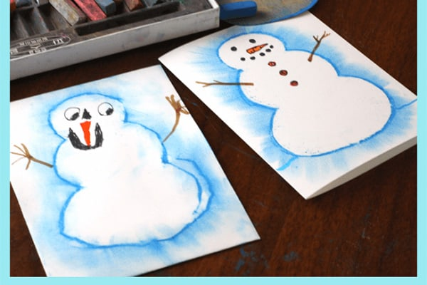 Snowman Drawing with Pastels