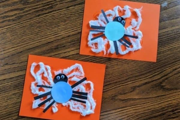 Spider Web Cotton Ball Craft