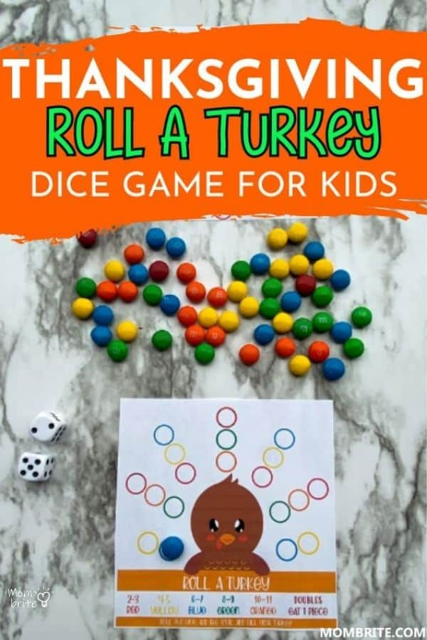 Thanksgiving Roll A Turkey Dice Game Pin