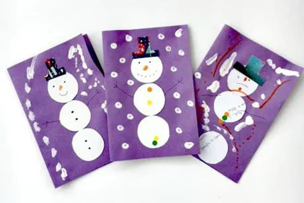 Upcycled Snowman Collage Cards