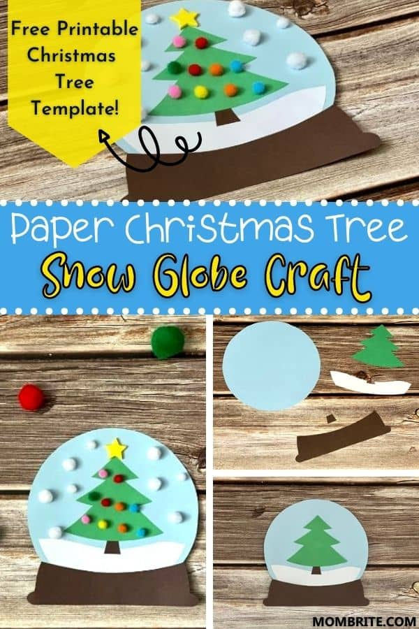 paper christmas tree snow globe craft pin