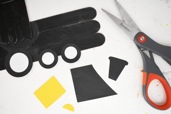 Cardstock - black, white, yellow prepared