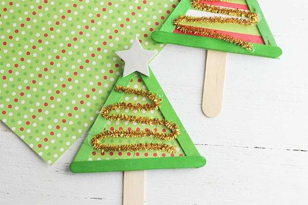 Christmas tree popsicle sticks