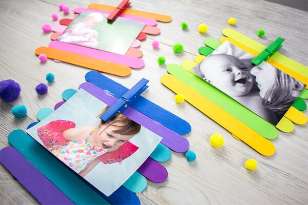 Colorful Popsicle Stick Photo Frame