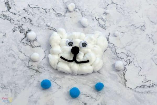Cotton Ball Polar Bear Craft - zoo animal craft for preschool