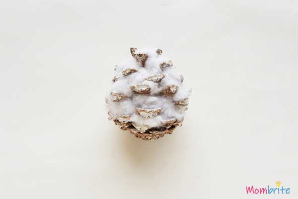 Cotton added in the Pinecone for Snowy Owl