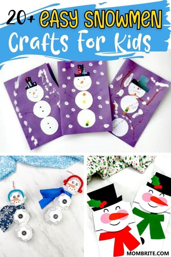 Easy Snowmen Crafts for Kids Pin