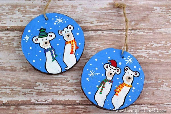 Fingerprint Polar Bear Decorations