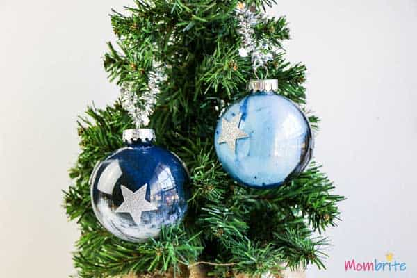 Galaxy Painted Ornament decorated on christmax tree