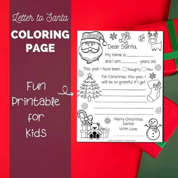 Letter to Santa Coloring Page Mockup