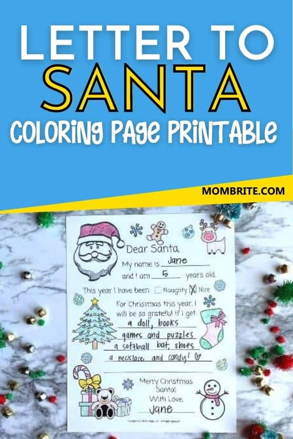 Letter to Santa Coloring Page Pin