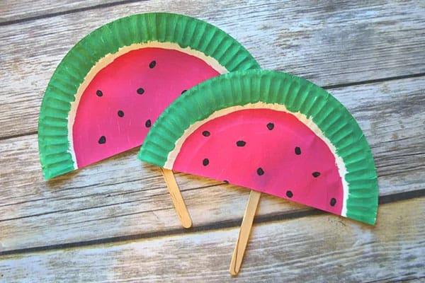 Paper Plate Watermelon Fans
