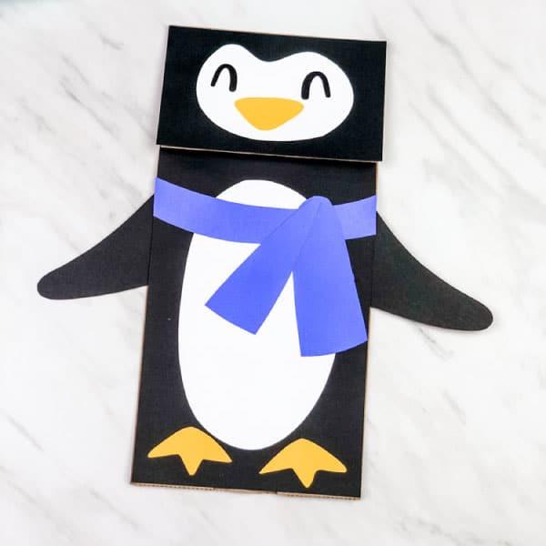 Penguin Paper Bag Puppet Craft