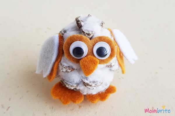 Pinecone Snowy Owl for kids