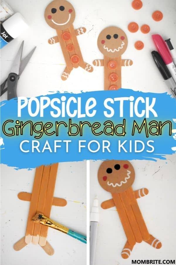Popsicle Stick Gingerbread Man Pin