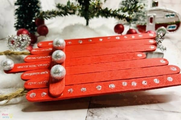 Red Popsicle Stick Red Sleigh Image