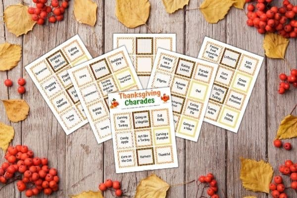 Thanksgiving Charade Cards Mockup