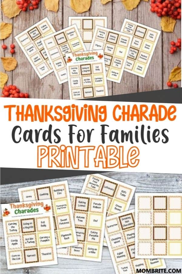 Thanksgiving Charade Game Cards Pin