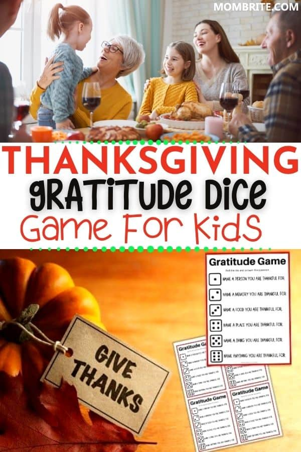 Thanksgiving Gratitude Dice Game Pin