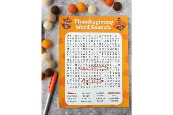 Thanksgiving Word Search Image
