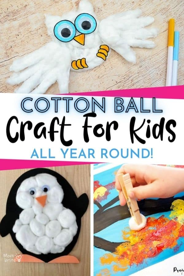 cotton ball crafts for kids pin