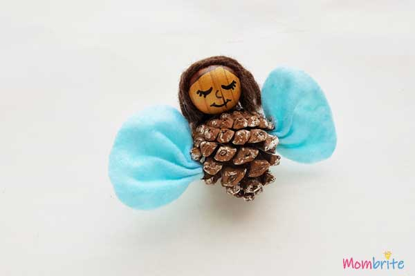 pinecone angle wings attached with craft glue