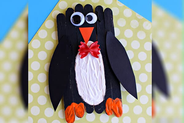 popsicle stick penguin craft for kids to make