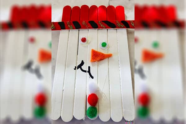 popsicle stick snowman craft finished