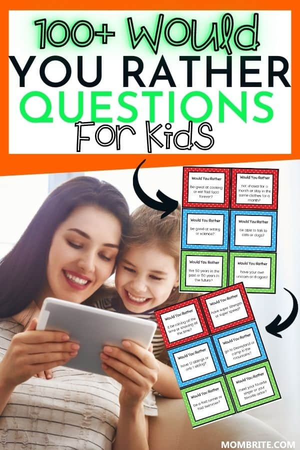 would you rather questions for kids pin