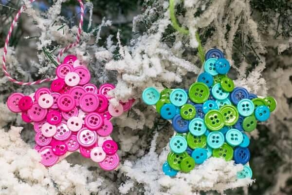 Christmas Tree Ornaments Made Out of Buttons