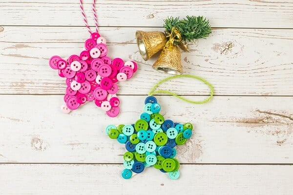 Christmas Ornaments Made with Buttons