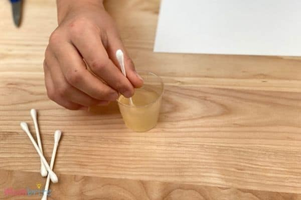Invisible Ink Experiment Lemon Juice Cotton Swab