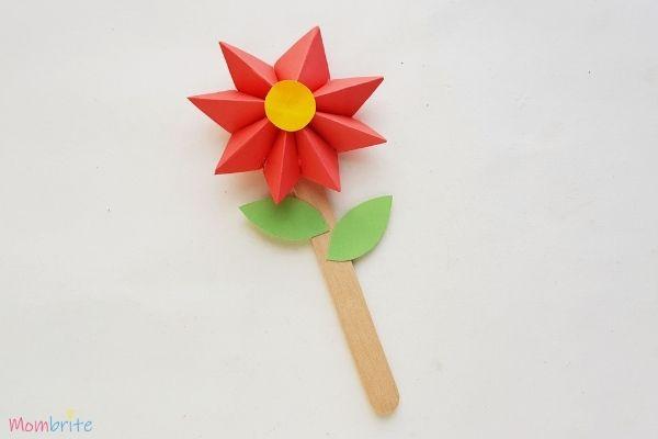 Paper Flower Craft Popsicle Stick