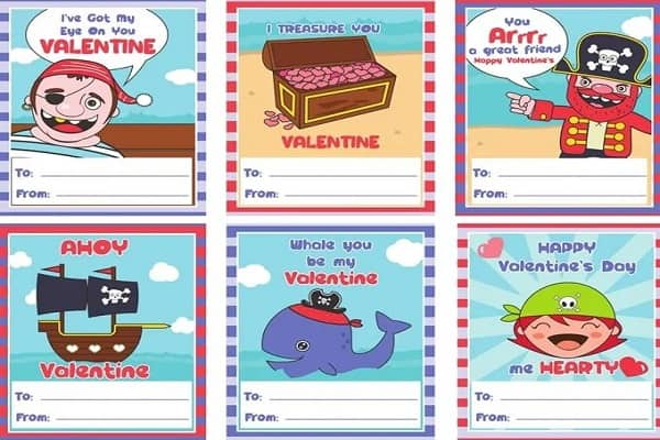 Pirate Valentine's Day Cards