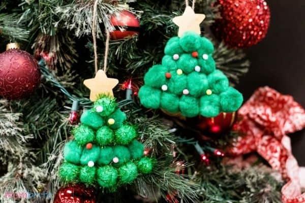 Pom Pom Christmas Tree Craft Finished (2)