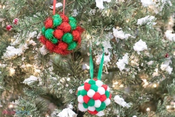 Pom Poms Ball Christmas Ornament Craft (1)