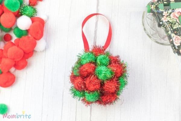 Pom Poms Ball Christmas Ornament Craft (2)