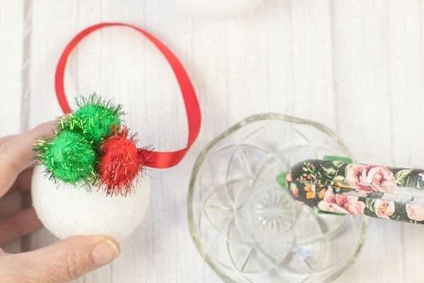 Pom Poms Ball Christmas Ornament Craft (5)
