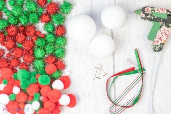 Pom Poms Ball Christmas Ornament Craft Materials