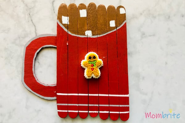 Red coloured Popsicle Stick Cocoa Mug Crafting