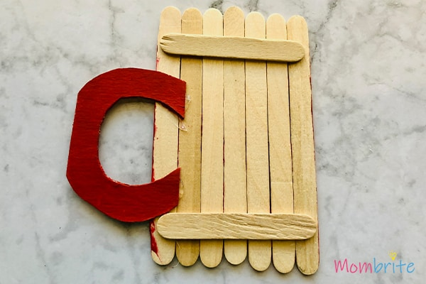 Red handle Popsicle Stick Hot cocoa mug Craft