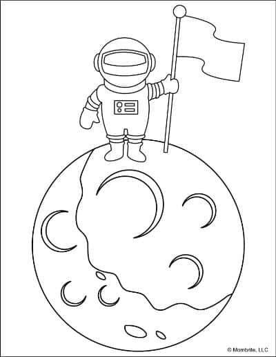 Space-Coloring-Pages-Astronaut-on-Moon