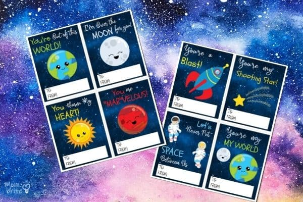Space Valentine's Cards for Kids