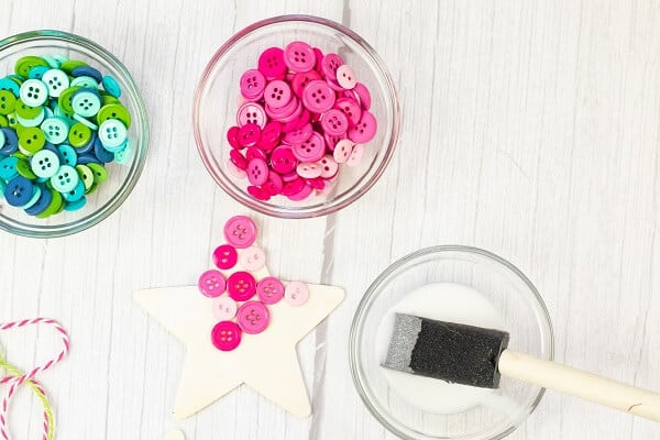 Wooden Star and Buttons to Make Button Ornament