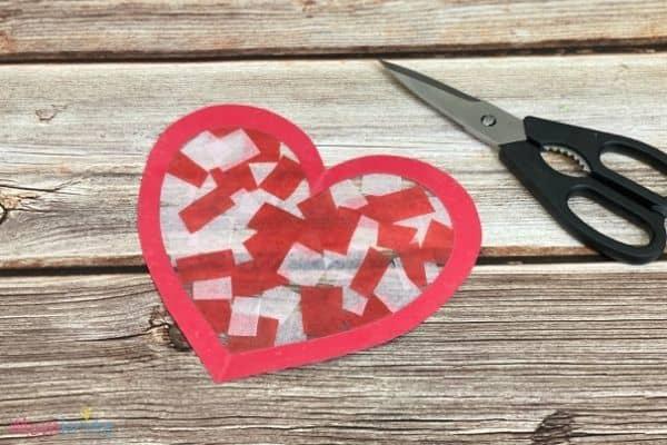 Valentine Heart Suncatcher Craft (8)